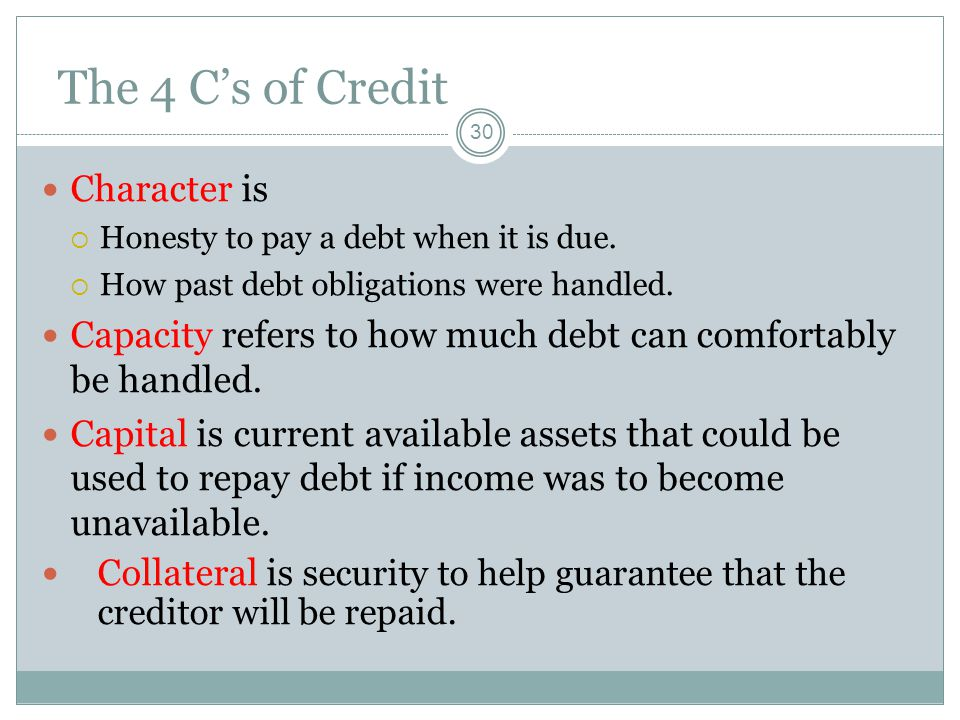 The 4 C's of Credit Character is