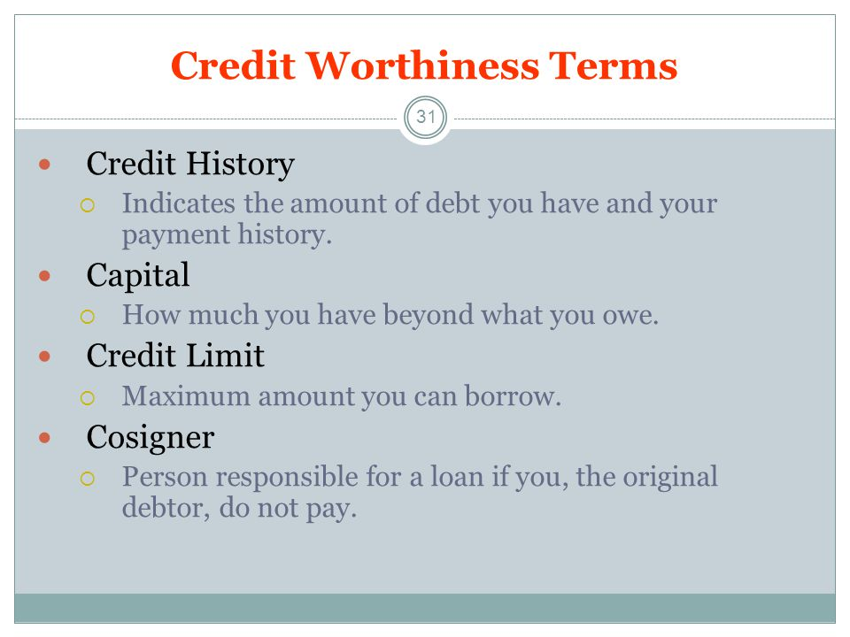 Credit Worthiness Terms