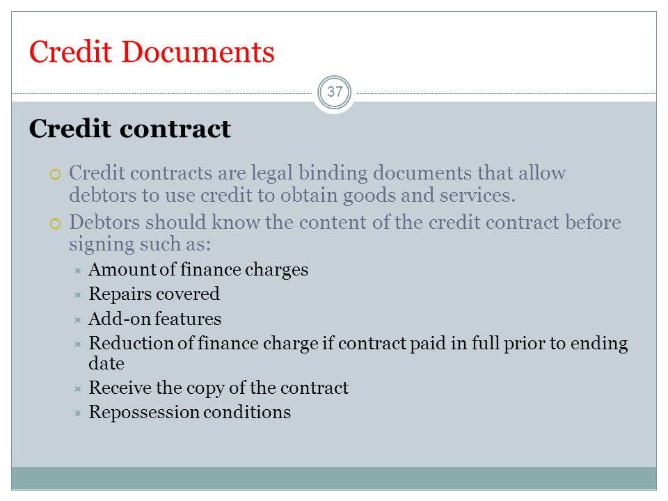 Credit Documents Credit contract