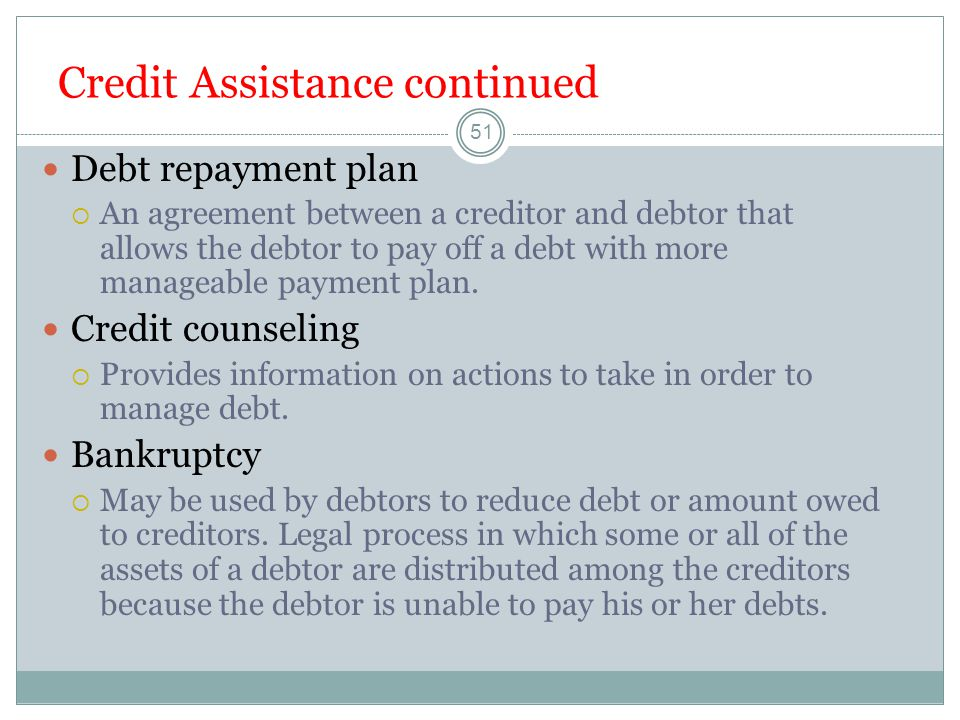 Credit Assistance continued