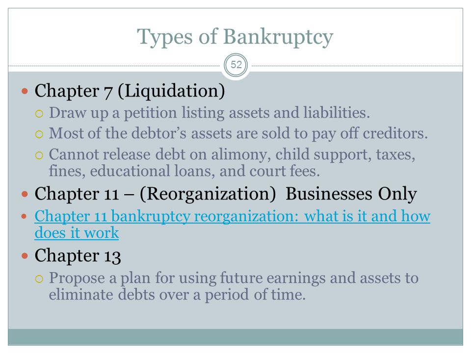 Types of Bankruptcy Chapter 7 (Liquidation)