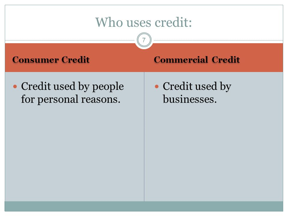 Who uses credit: Credit used by people for personal reasons.