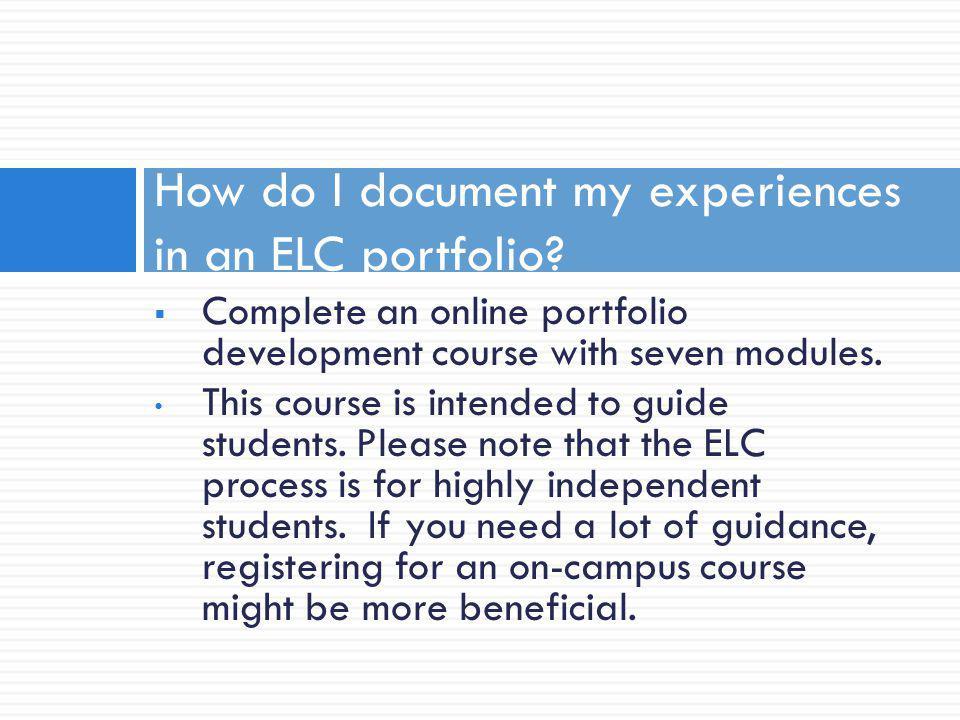 How do I document my experiences in an ELC portfolio