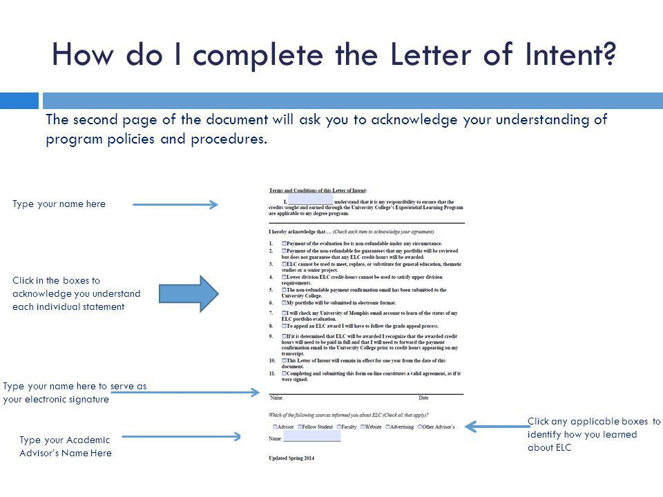 How do I complete the Letter of Intent