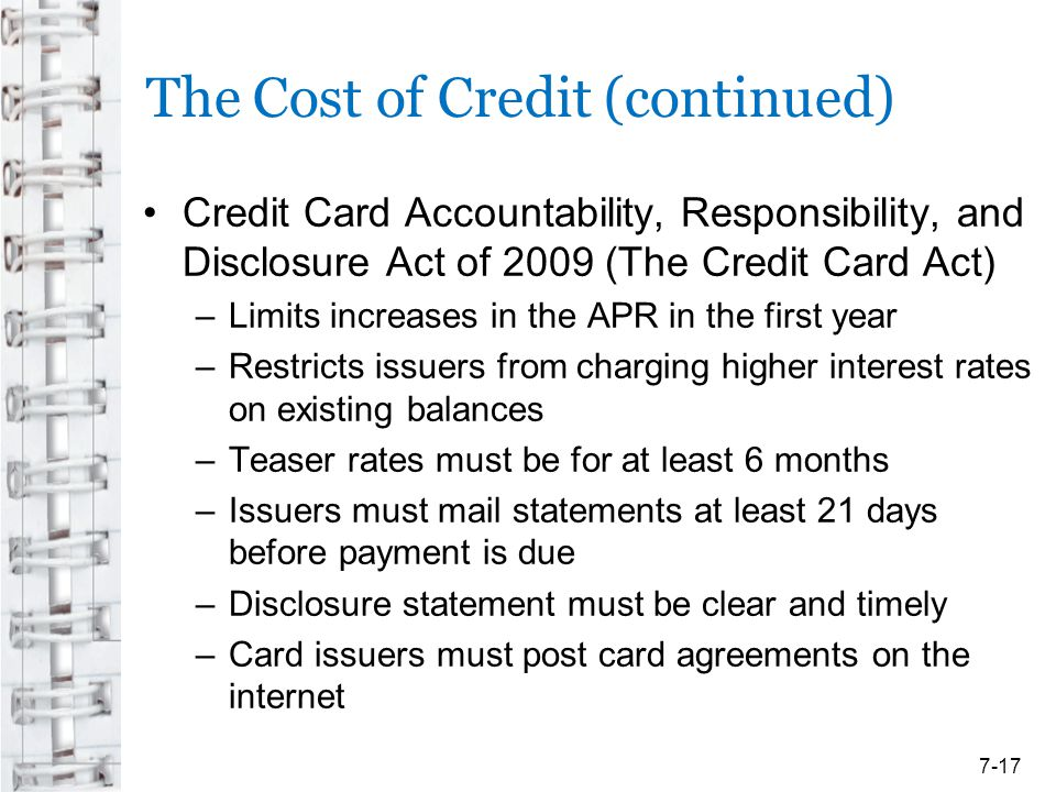 The Cost of Credit (continued)