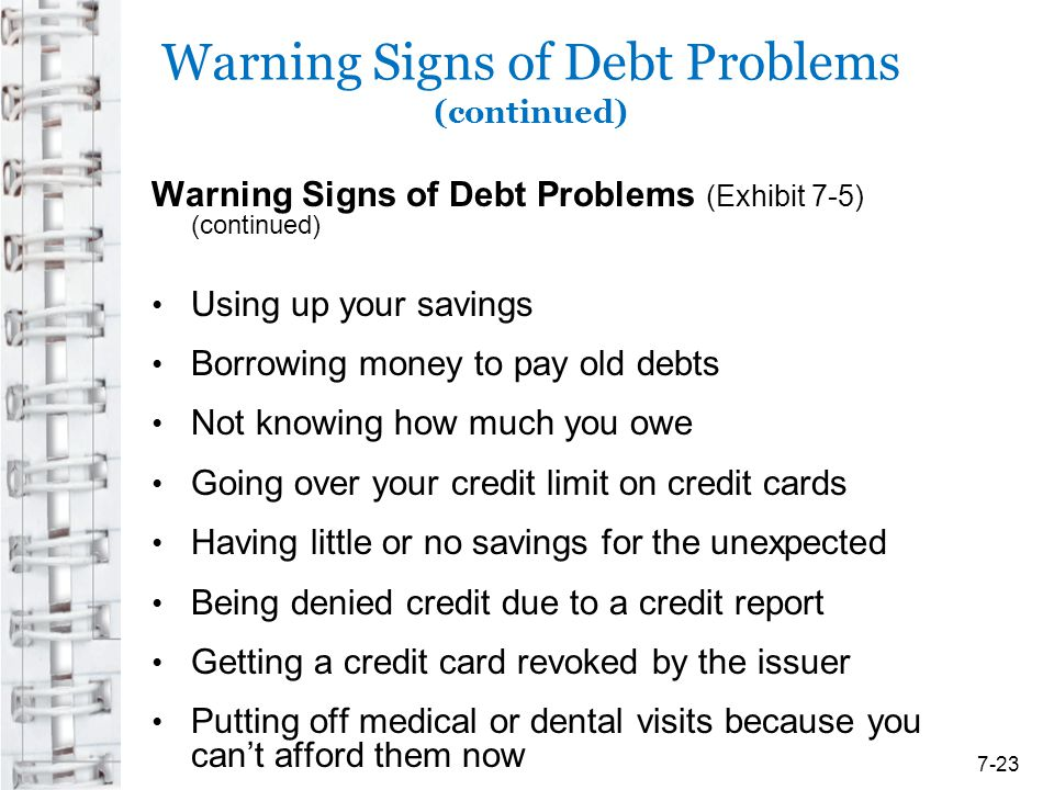 Warning Signs of Debt Problems (continued)