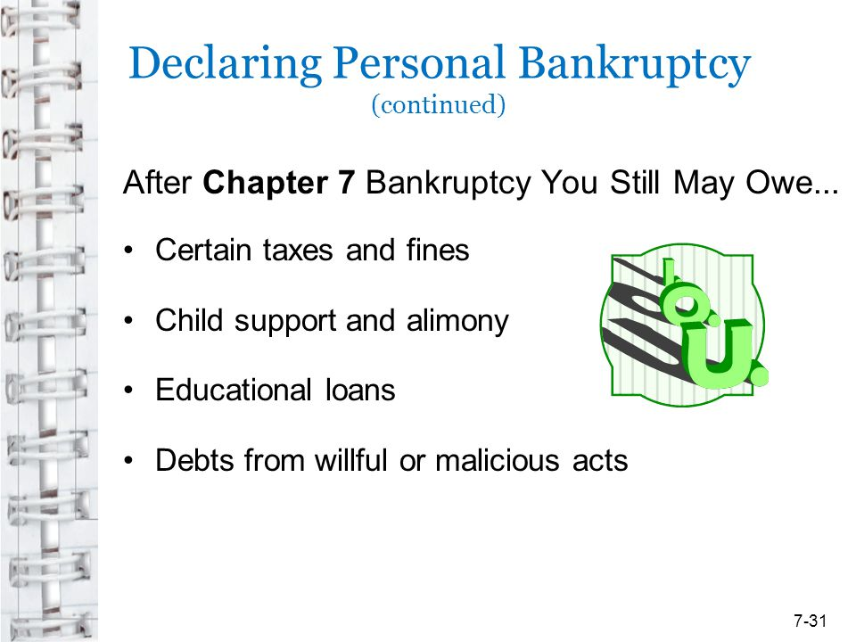 Declaring Personal Bankruptcy (continued)