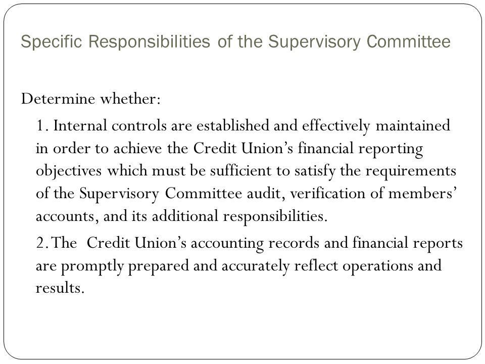 Specific Responsibilities of the Supervisory Committee