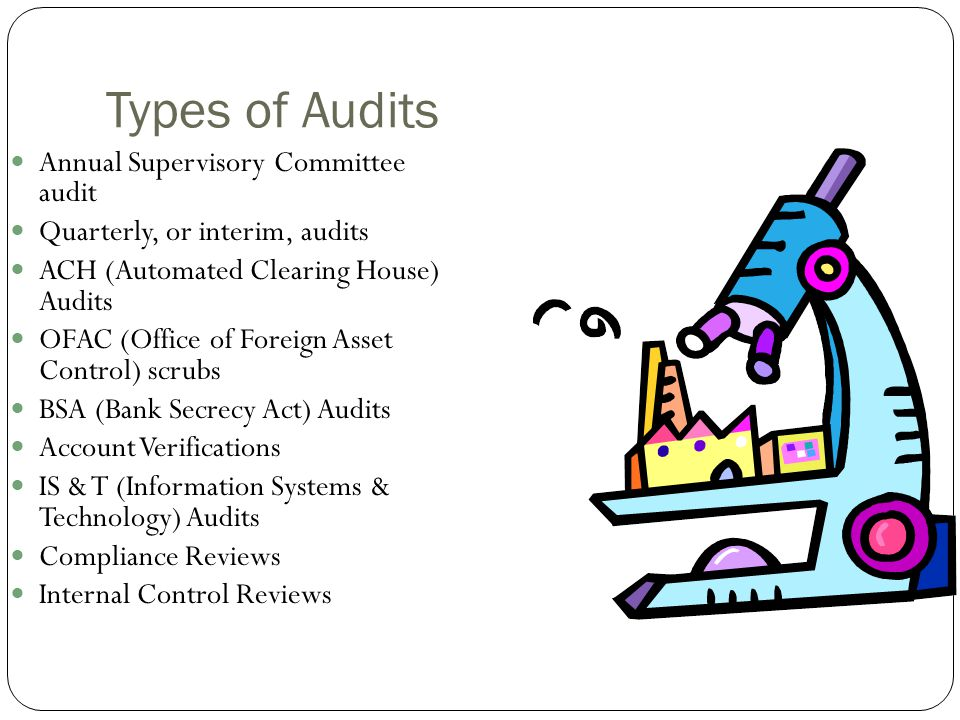Types of Audits Annual Supervisory Committee audit