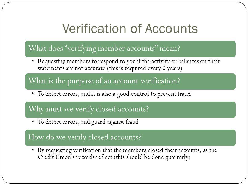 Verification of Accounts