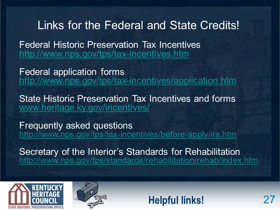 Links for the Federal and State Credits!