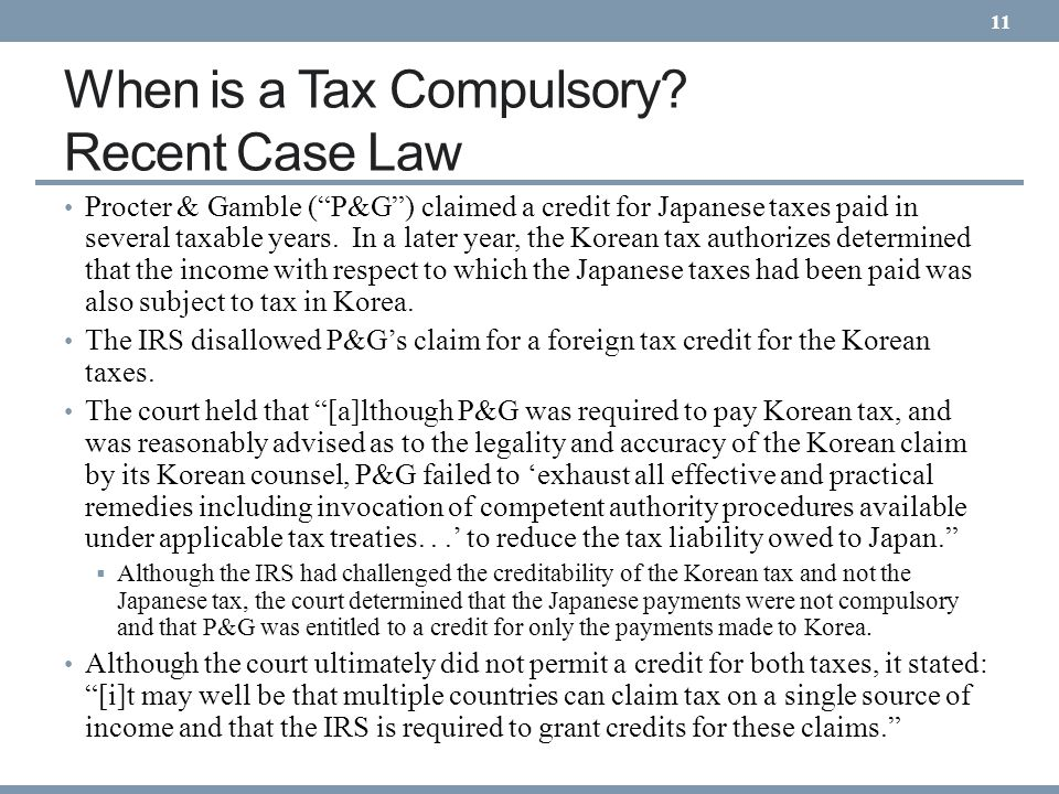 When is a Tax Compulsory Recent Case Law