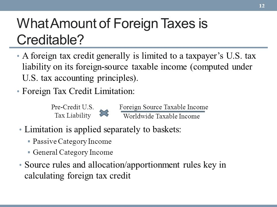 What Amount of Foreign Taxes is Creditable