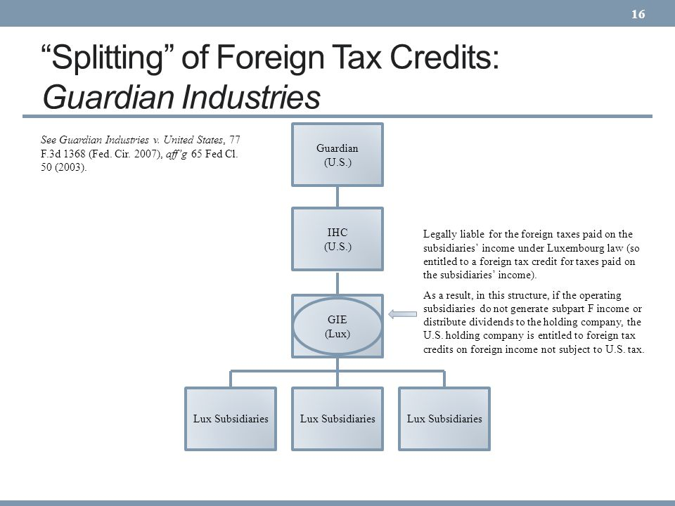 Splitting of Foreign Tax Credits: Guardian Industries