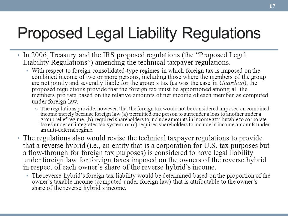 Proposed Legal Liability Regulations