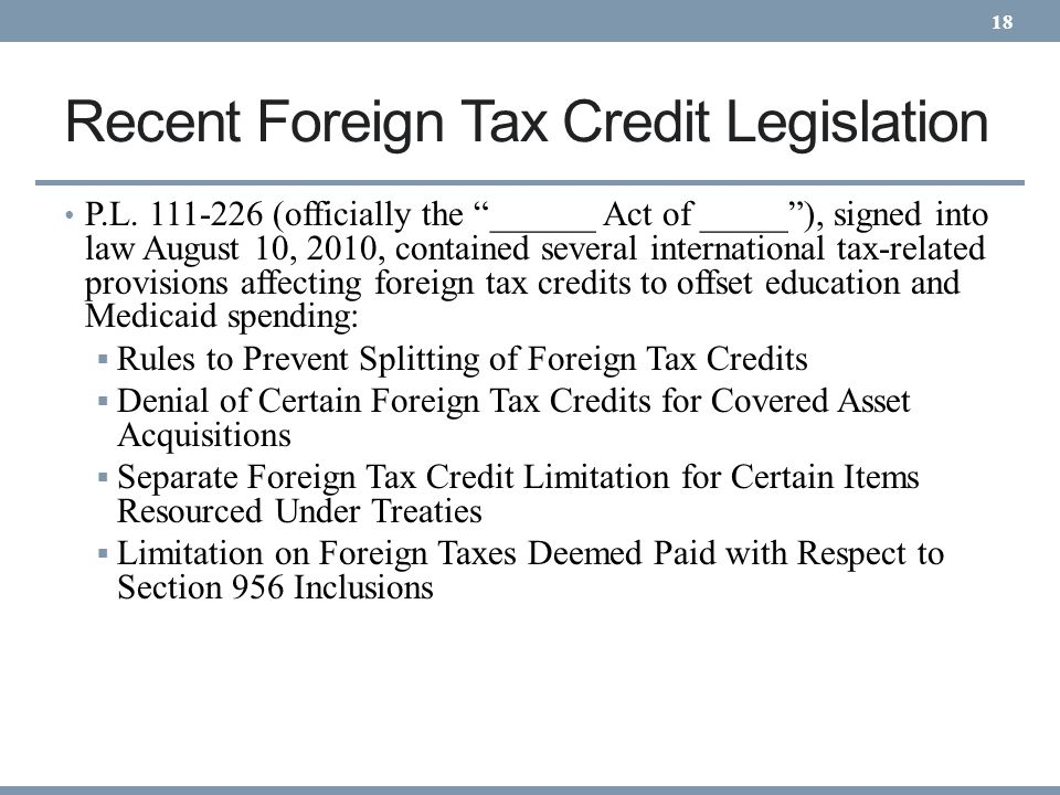 Recent Foreign Tax Credit Legislation