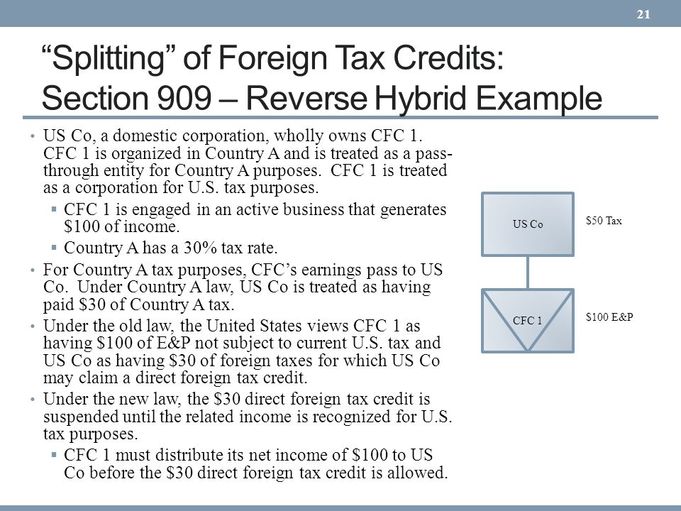 21 Splitting of Foreign Tax Credits: Section 909 – Reverse Hybrid Example.