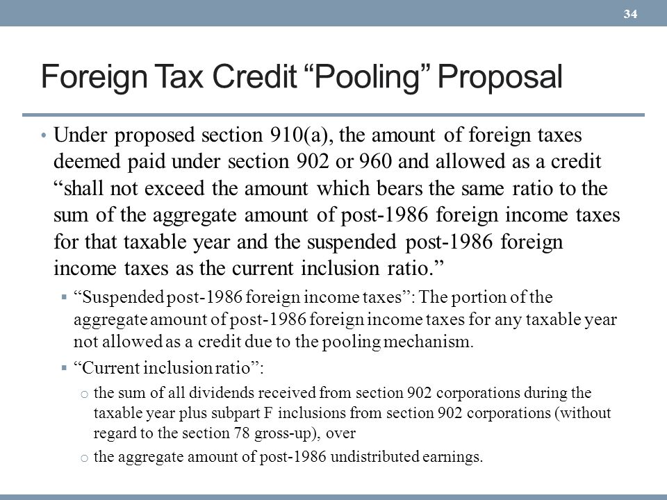 Foreign Tax Credit Pooling Proposal