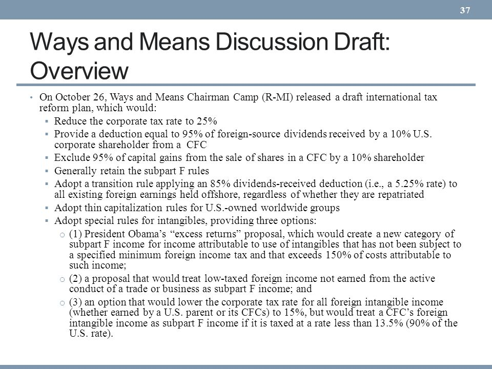 Ways and Means Discussion Draft: Overview