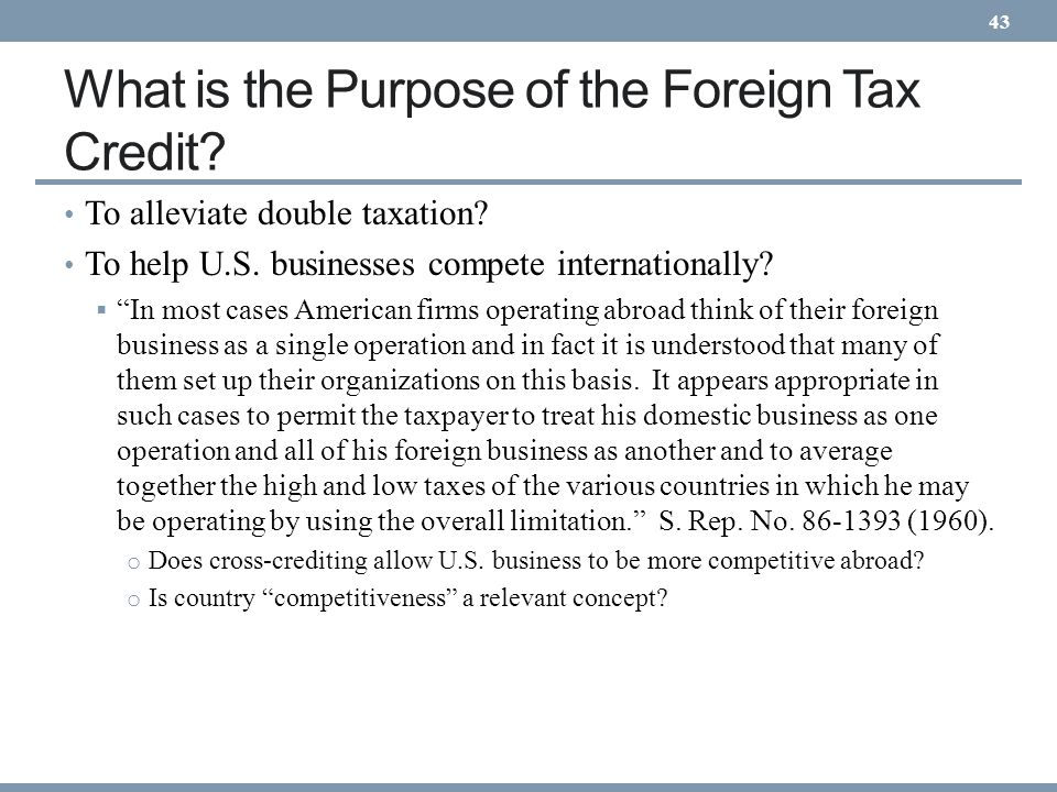 What is the Purpose of the Foreign Tax Credit