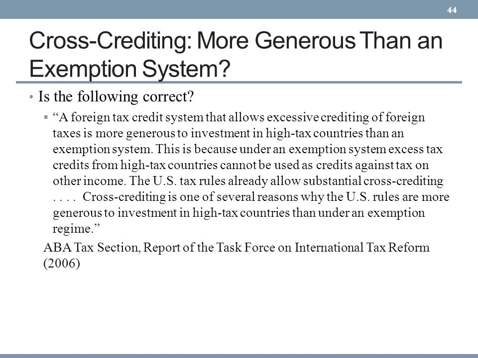 Cross-Crediting: More Generous Than an Exemption System