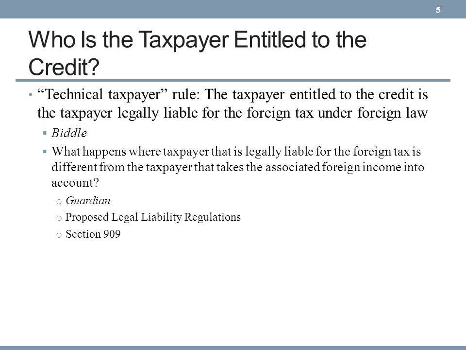 Who Is the Taxpayer Entitled to the Credit