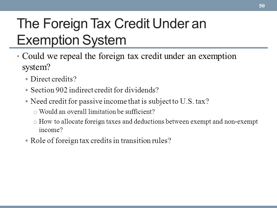 The Foreign Tax Credit Under an Exemption System