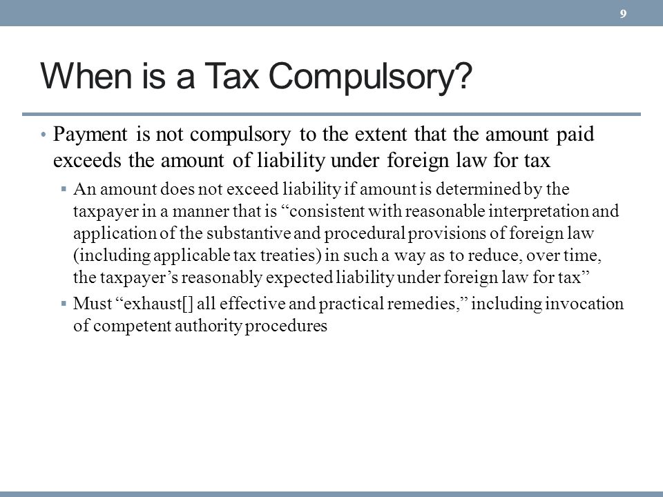 When is a Tax Compulsory