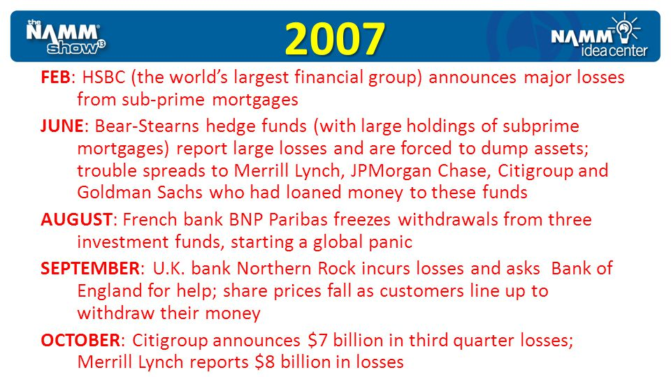 2007 FEB: HSBC (the world's largest financial group) announces major losses from sub-prime mortgages.
