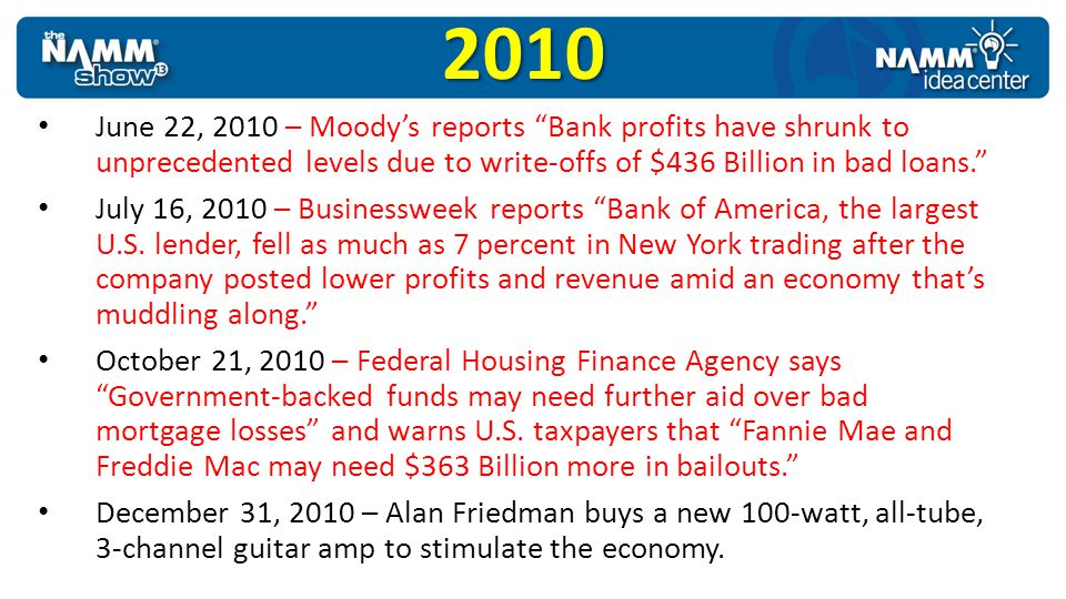2010 June 22, 2010 – Moody's reports Bank profits have shrunk to unprecedented levels due to write-offs of $436 Billion in bad loans.