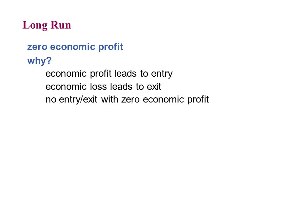 Long Run zero economic profit why economic profit leads to entry