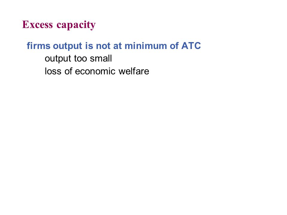 Excess capacity firms output is not at minimum of ATC output too small
