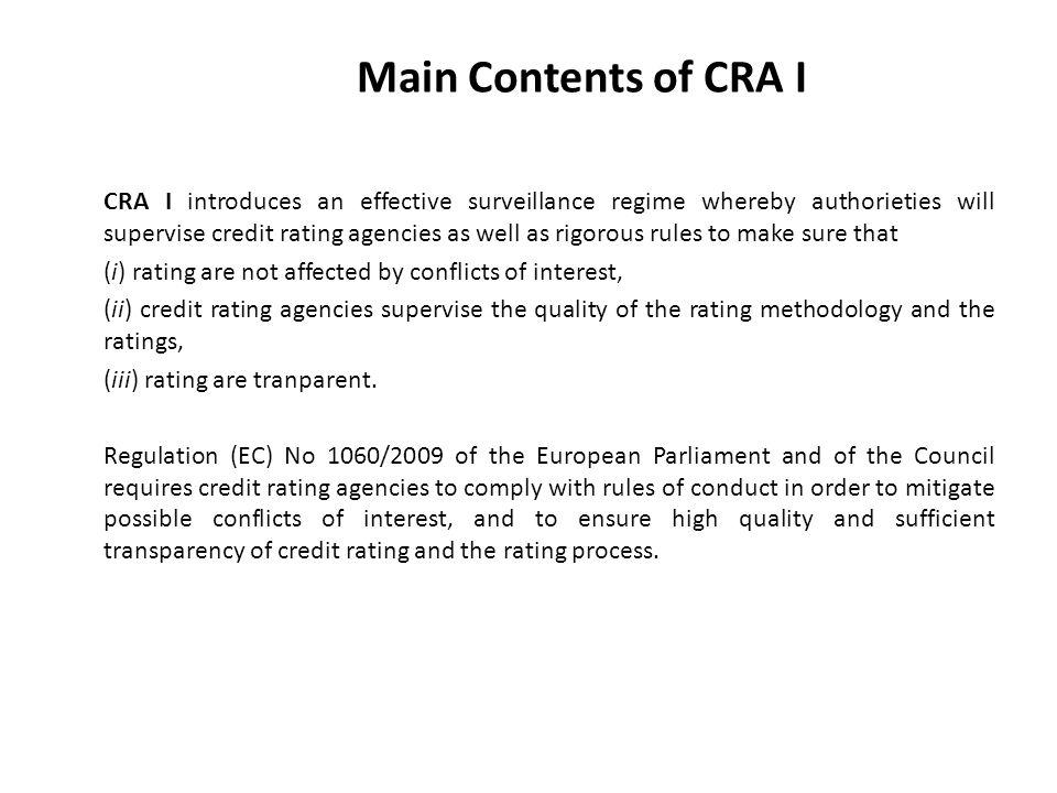 Main Contents of CRA I