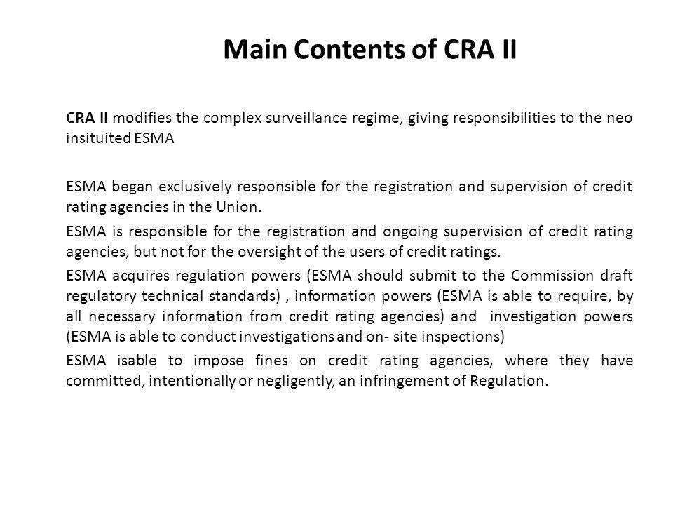 Main Contents of CRA II