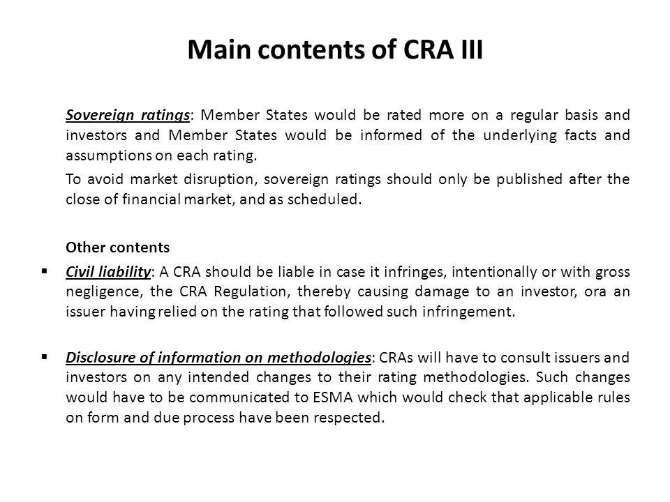 Main contents of CRA III