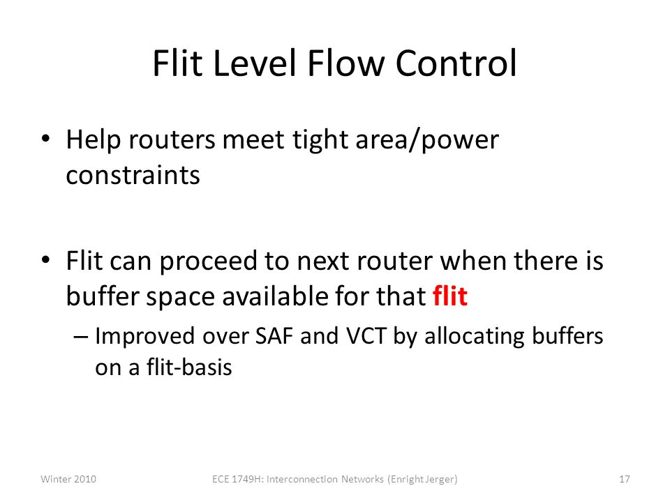 Flit Level Flow Control