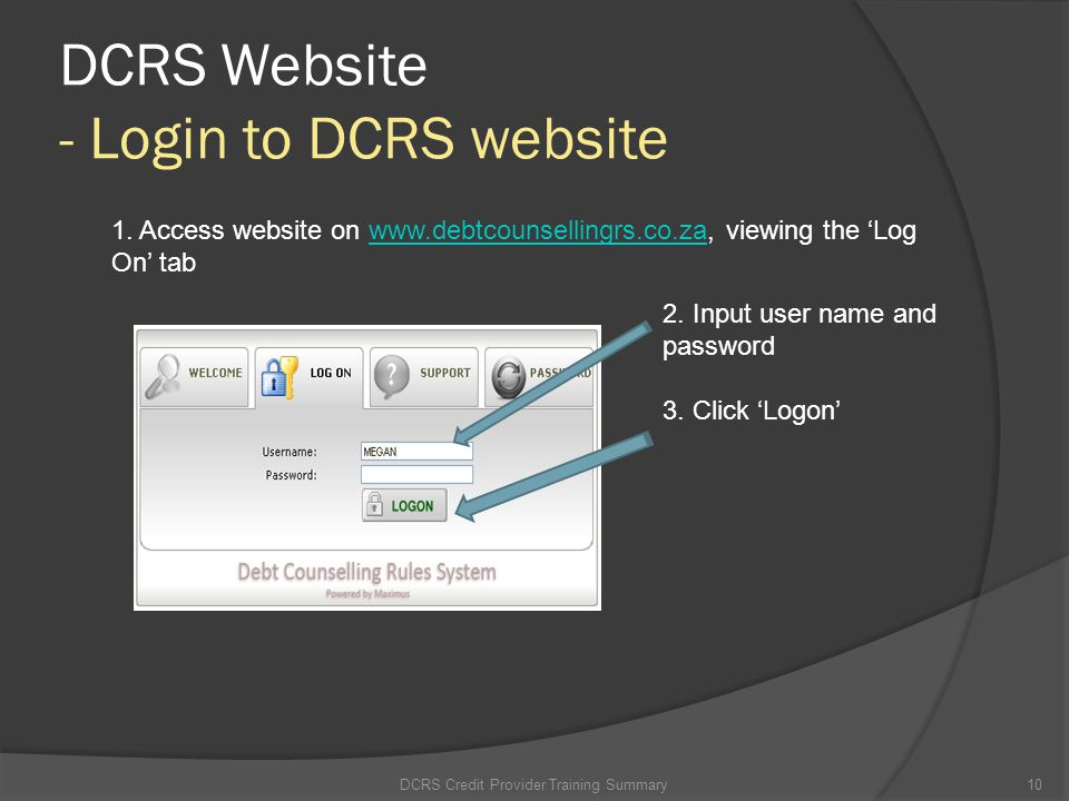 DCRS Website - Login to DCRS website