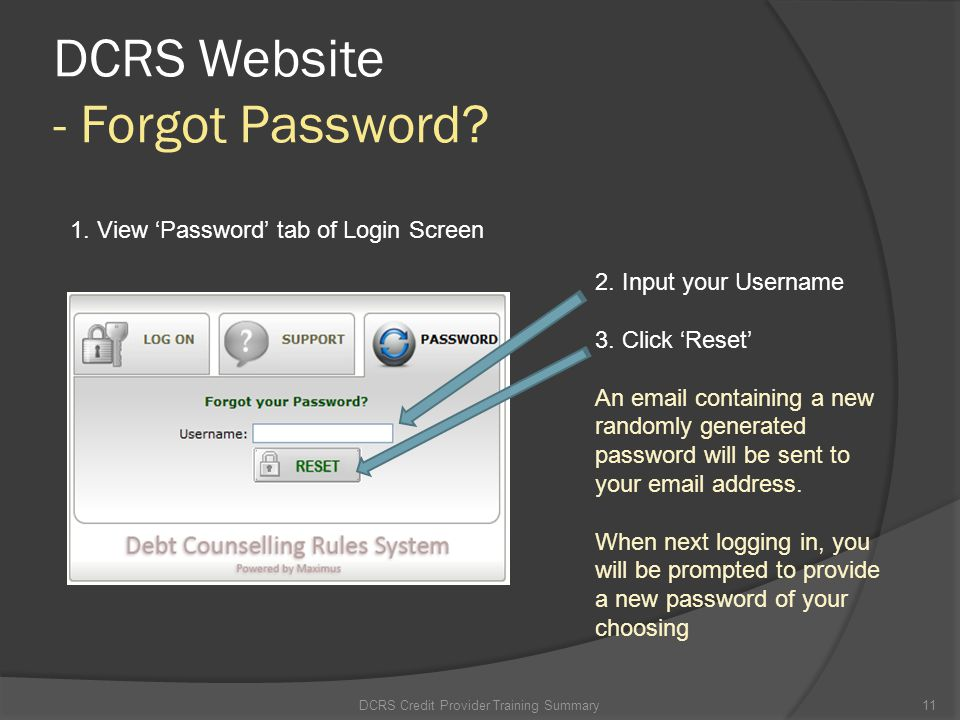 DCRS Website - Forgot Password