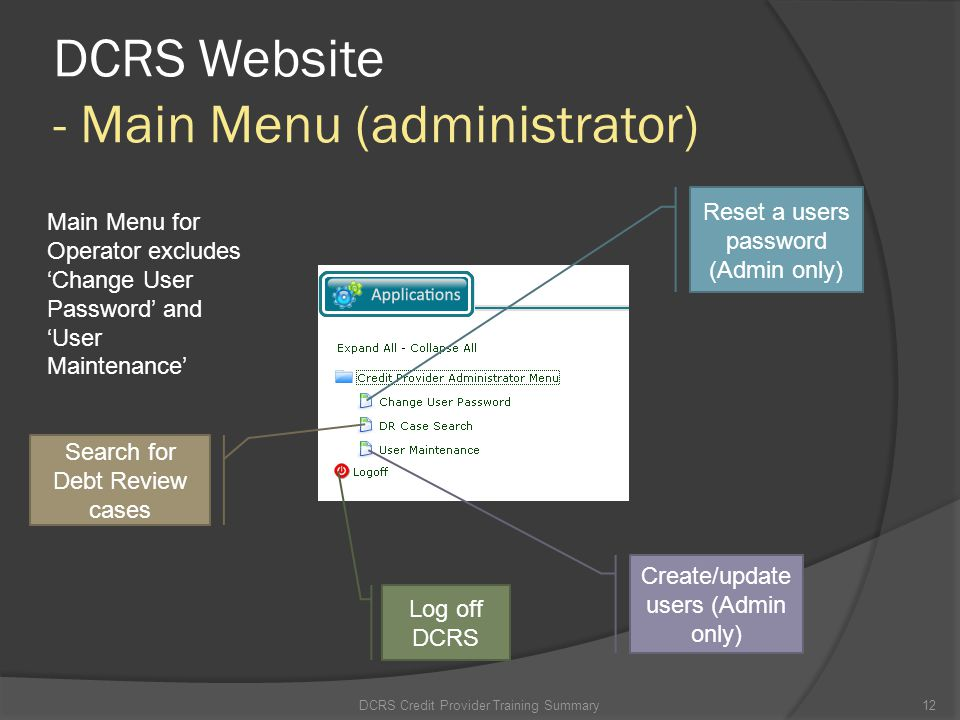 DCRS Website - Main Menu (administrator)