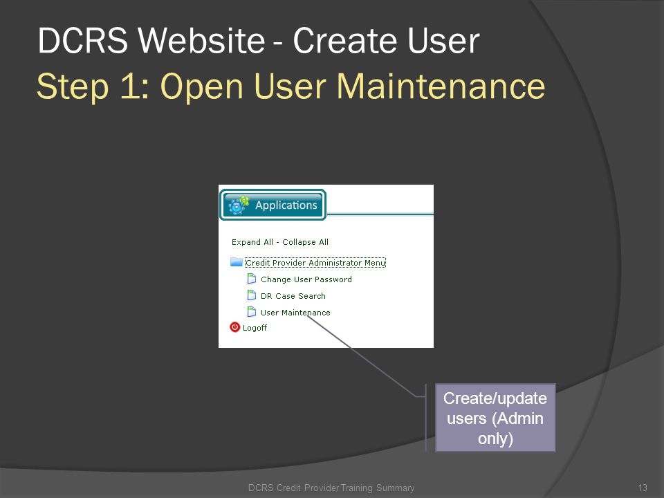 DCRS Website - Create User Step 1: Open User Maintenance