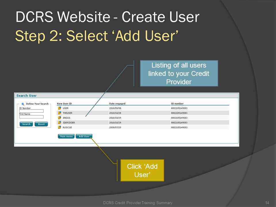 DCRS Website - Create User Step 2: Select 'Add User'