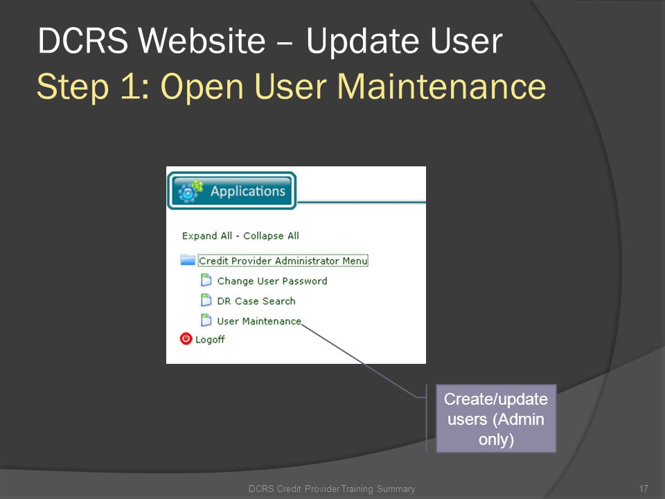 DCRS Website – Update User Step 1: Open User Maintenance