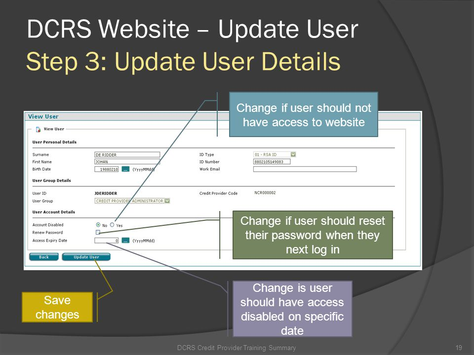 DCRS Website – Update User Step 3: Update User Details