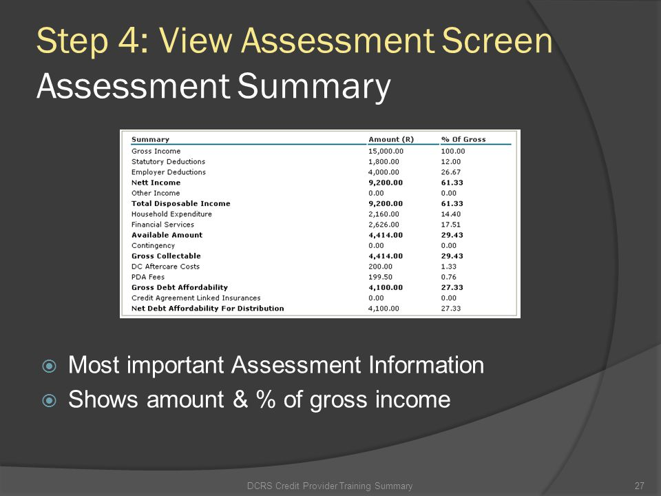 Step 4: View Assessment Screen Assessment Summary