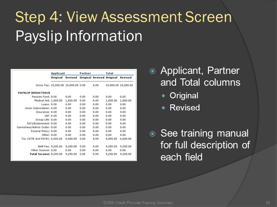 Step 4: View Assessment Screen Payslip Information