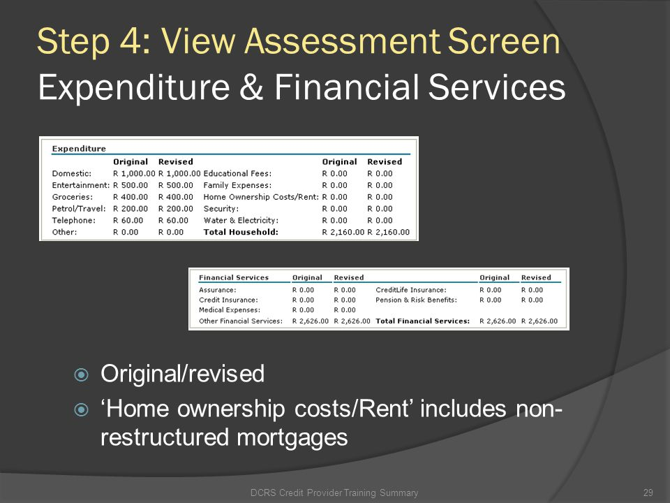 Step 4: View Assessment Screen Expenditure & Financial Services