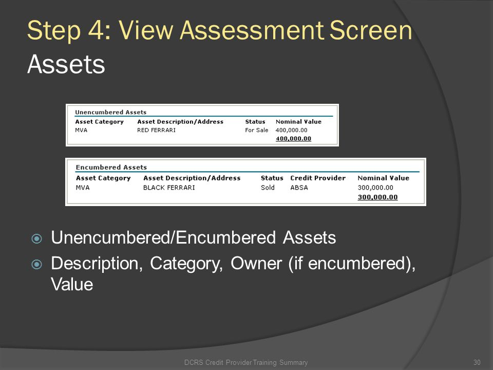 Step 4: View Assessment Screen Assets
