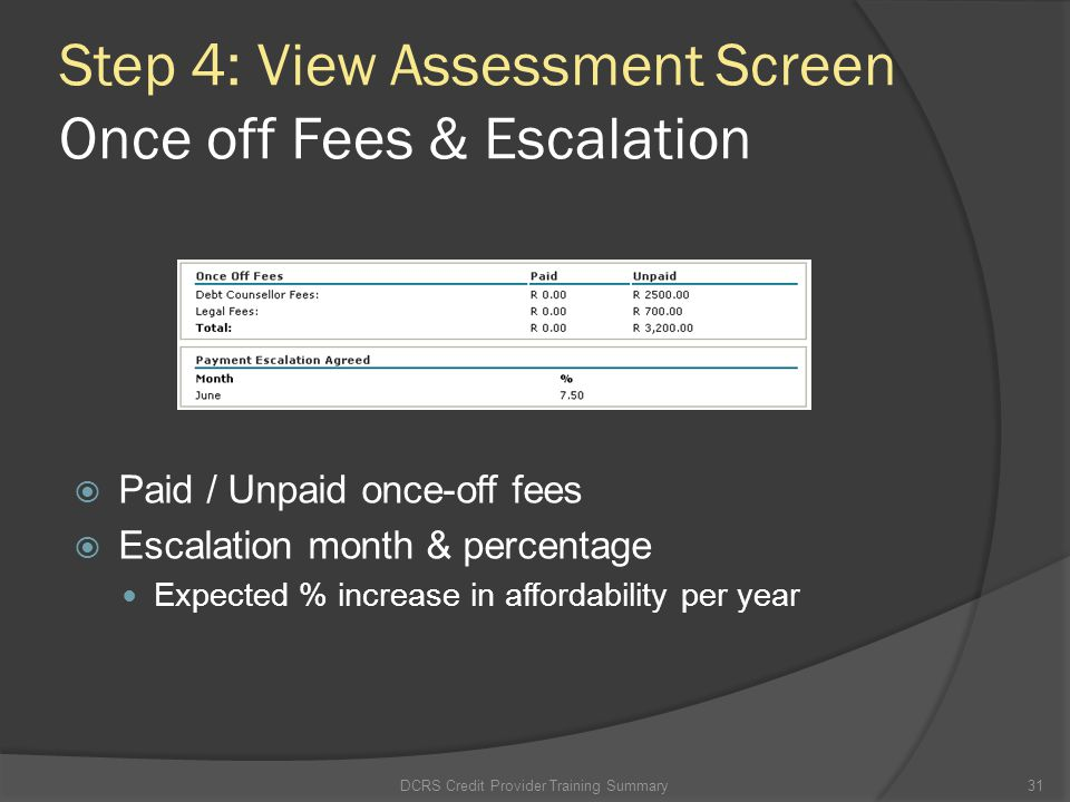 Step 4: View Assessment Screen Once off Fees & Escalation