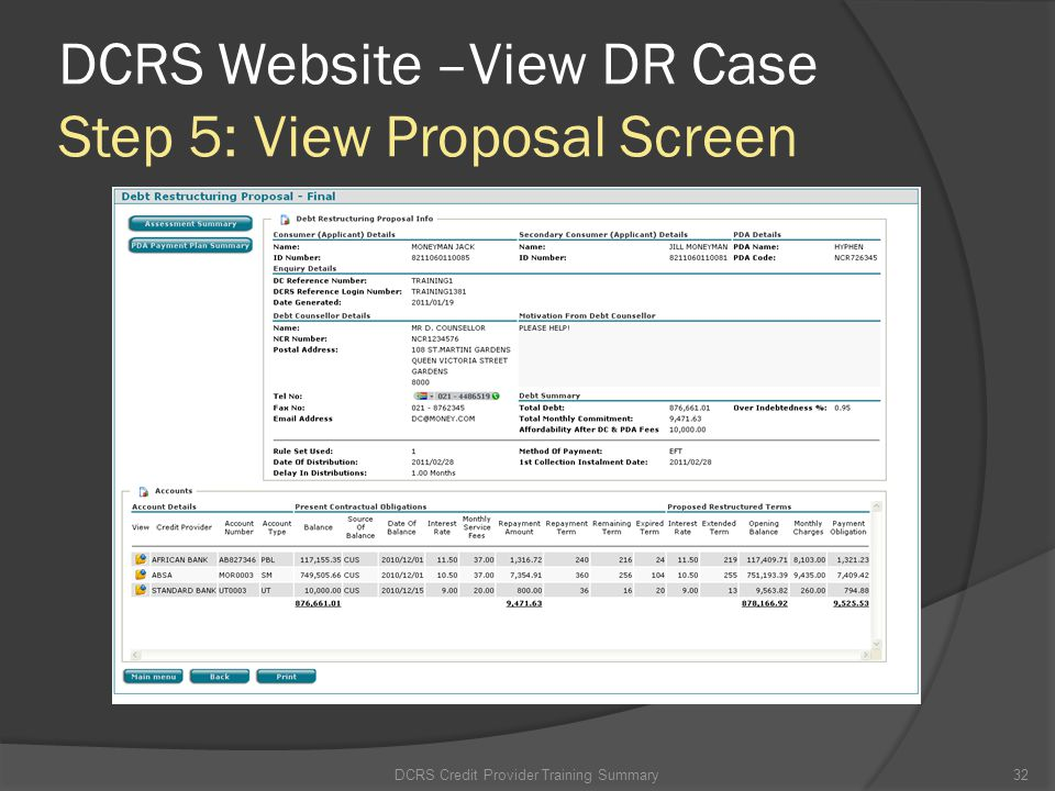 DCRS Website –View DR Case Step 5: View Proposal Screen