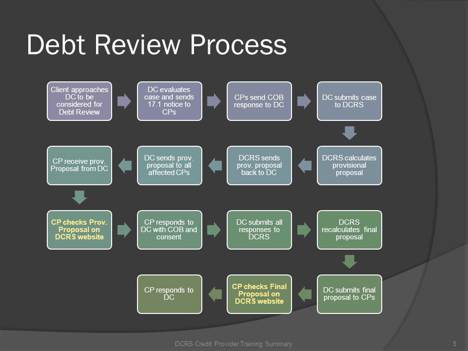 Debt Review Process DCRS Credit Provider Training Summary